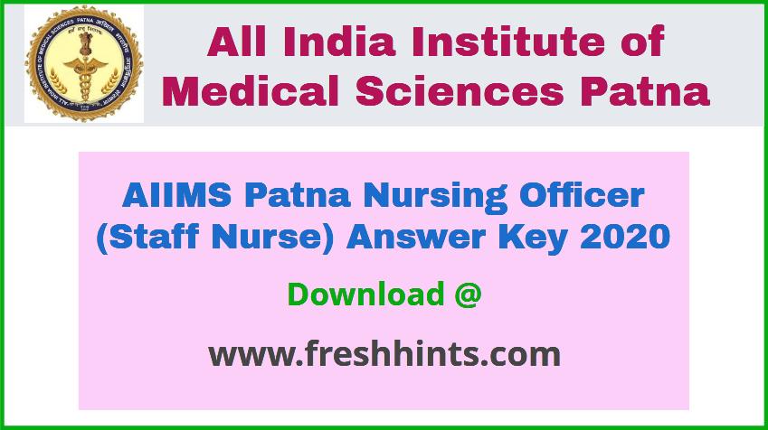 AIIMS Patna Nursing Officer Answer Key 2020
