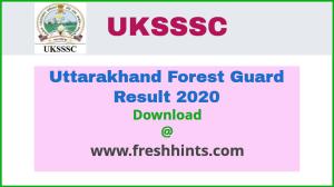 Uttarakhand SSSC Forest Guard Result 2020