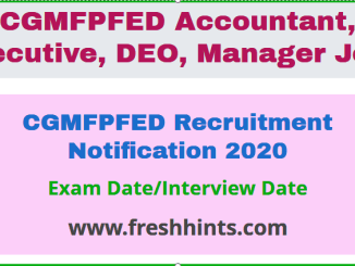 CGMFPFED Recruitment Notification 2020
