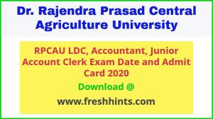 RPCAU LDC Accountant JAC Admit Card 2020