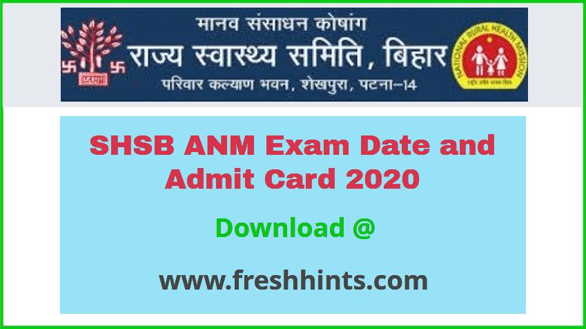State Health Society Bihar ANM Admit Card 2020