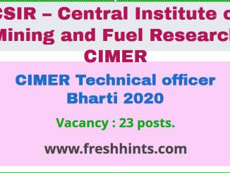 CIMER Technical officer Bharti 2020