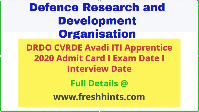 drdo-cvrde-avadi-iti-apprentice-admit-card-2020