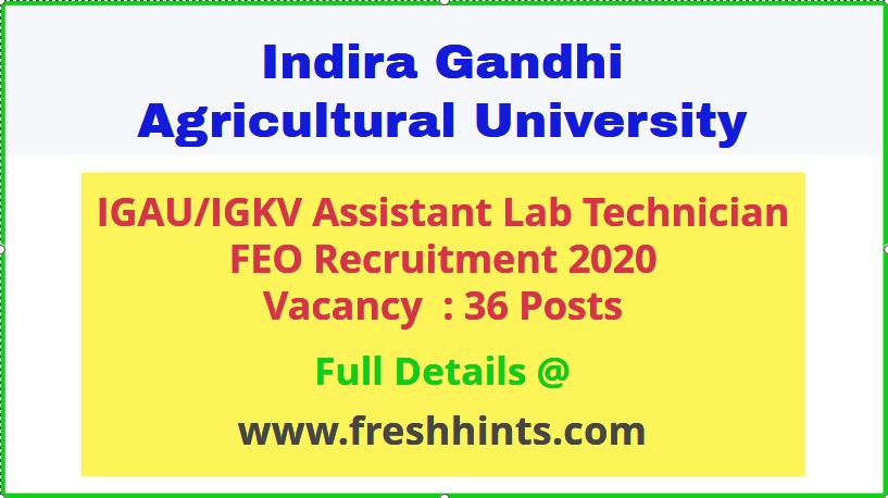Indira Gandhi Agricultural University Assistant Recruitment 2020