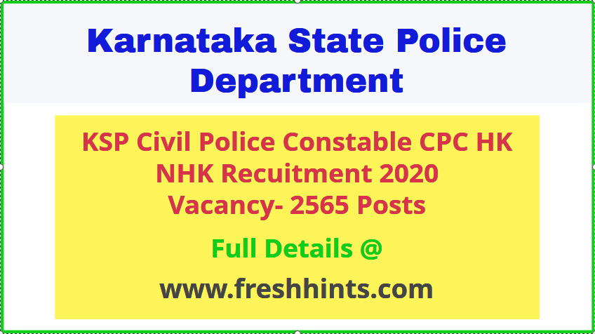 Karnataka Police CPC HK NHK Recruitment 2020