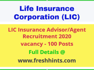 LIC Insurance Advisor Vacancy 2020