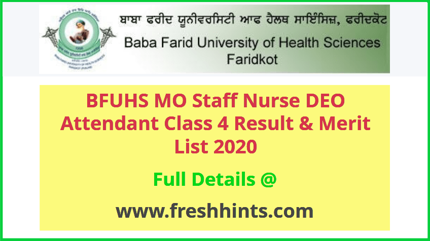 Punjab Medical Education and Research Department Result 2020