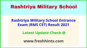 Rashtriya Military School Results Selection List 2021