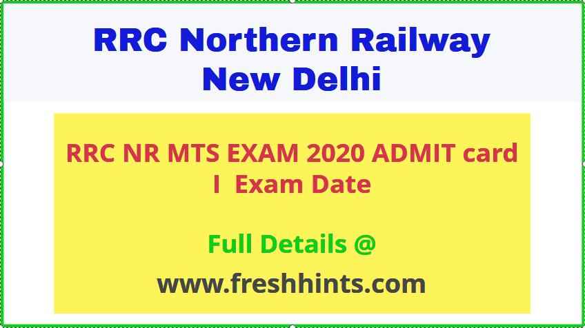 RRC Northern Railway MTS Admit Card 2020