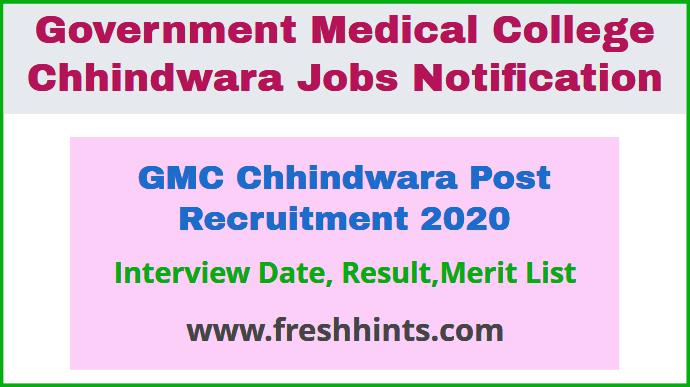 GMC Chhindwara Post Recruitment 2020