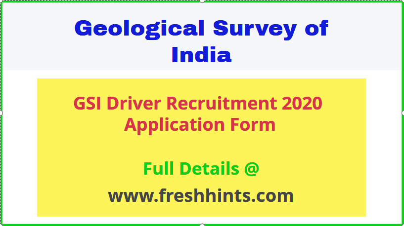 Geological Survey of India Driver Recruitment