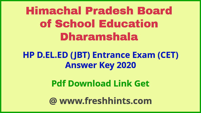 Himachal Pradesh Deled CET Answer Key 2020