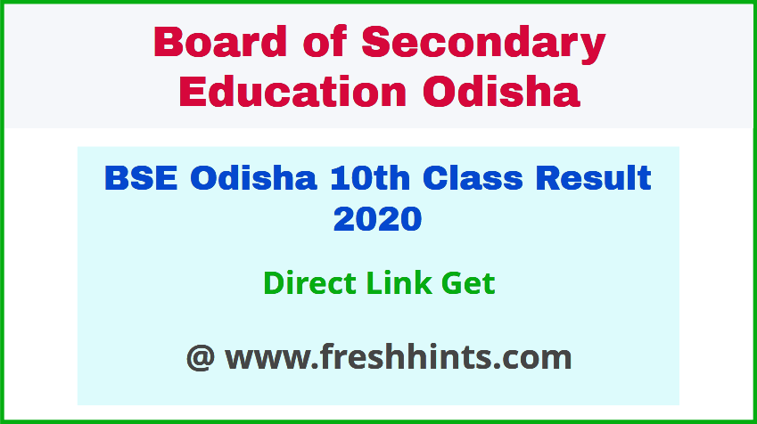 Odisha Board Matric Result 2020