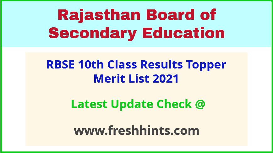 Rajasthan Board 10th Topper Merit List 2021