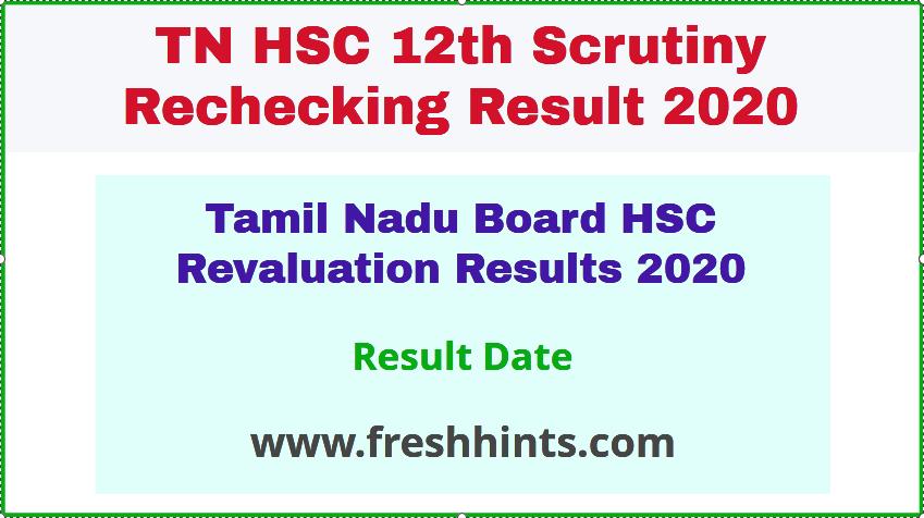 Tamil Nadu Board HSC Revaluation Results 2020