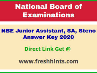 National Board of Examinations JA Question Paper Solution Key 2020