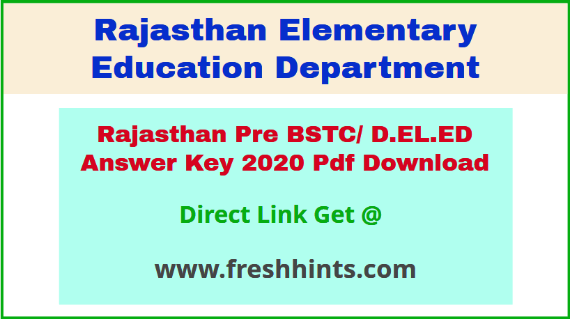 Rajasthan BSTC Entrance Exam Answer Sheet 2020