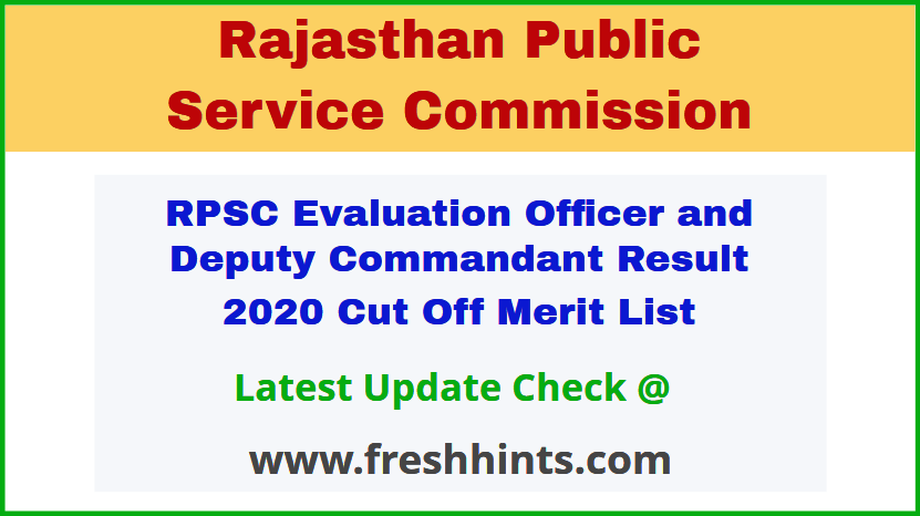 Rajasthan EO and Dy Commandant Selection List 2020