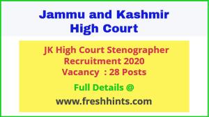 JK High Court Stenographer Recruitment 2020