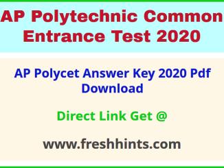AP Polytechnic Entrance Exam Answer Key 2020