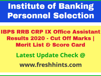 IBPS CRP RRB IX OA Results and Selection List 2020