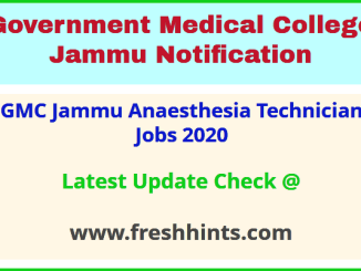 GMC Jammu Anaesthesia Technician Jobs 2020