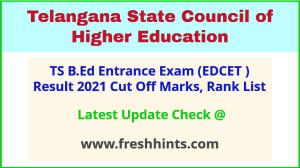 TS B.Ed Entrance Exam Results 2021