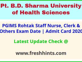UHSR Staff Nurse Clerk Lab Technician Attendant Hall Ticket 2020