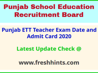 Department of School Education Punjab ETT Teacher Hall Ticket 2020
