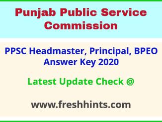 Punjab Headmaster Question Paper Solution Key 2020