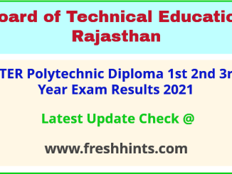 Rajasthan Polytechnic Diploma Exam Results 2021