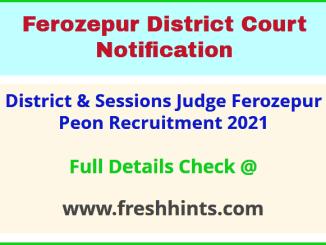 District & Sessions Judge Ferozepur Peon Recruitment 2021