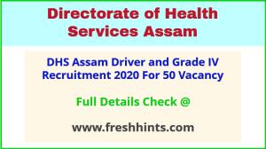 DHSFW Assam Driver & Grade IV Vacancy 2020