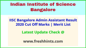 Indian Institute of Science AA Selection List 2020