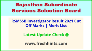 Rajasthan Agriculture Investigator Results Selection List 2021