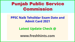 Punjab Naib Tehsildar Exam Admit Card 2021