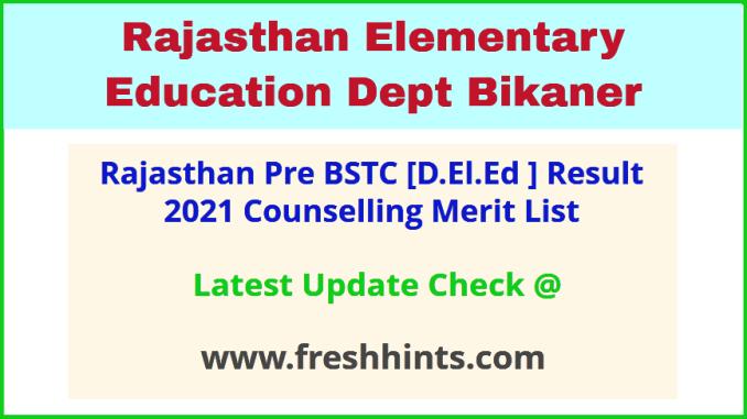 Raj BSTC Entrance Exam Results Score Card 2021