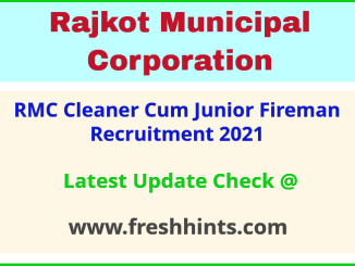 Rajkot Municipal Corporation Junior Fireman Bharti 2021