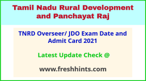 TN Rural Development and Panchayat Raj Overseer Hall Ticket 2021