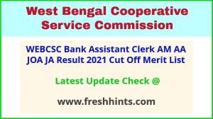 WBCSC Assistant Clerk AM AA JOA JA Selection List 2021