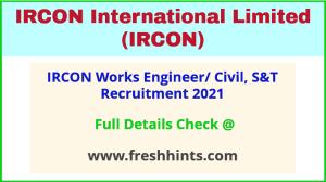 IRCON - engineer- recruitment 2021