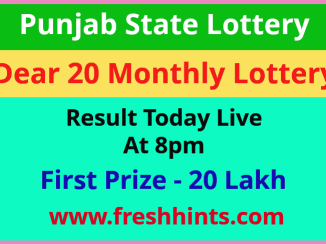 Dear 20 Lotter Winner Name List 2021