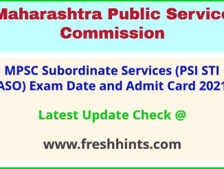 Maharashtra Subordinate Services Exam Admit Card 2021