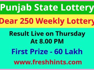Punjab Lottery Dear 250 Thursday Weekly Winner List 2021