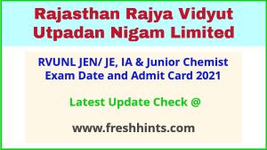 Rajasthan JEN IA Junior Chemist Hall Ticket 2021
