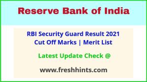 Reserve Bank of India Suraksha Guard Selection List 2021