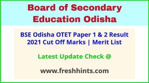 BSE Odisha TET Results Selection List 2021