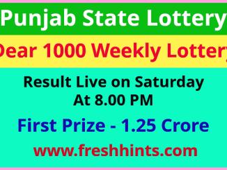 Punjab Lotteries Dear 1000 Winner List 2021