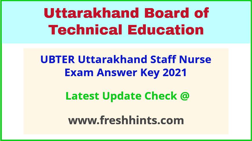 Uttarakhand Staff Nurse Answer Sheet 2021