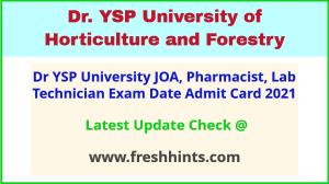 Dr YS Parmar University Exam Hall Ticket 2021